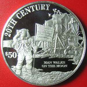 1997-COOK-ISLANDS-50-SILVER-PROOF-SPACE-MOON-WALK-ASTRONAUT-US-FLAG-SUPERB-RARE