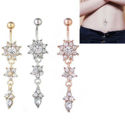 Women Beauty Crystal Flower Navel Belly Button Ring Bar Body Piercing Jewelry