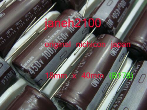100uF 450v 105c Radial Electrolytic Capacitor 18mm x 40mm M 2pc Nichicon PT