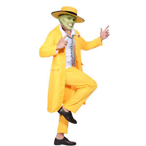 Mens The Mask Jim Carrey Cosplay Costume Stag do Gangster Zoot Suit Fancy Dress