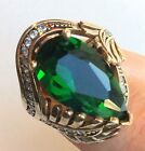 NEW! TURKISH  HANDMADE EMERALD TOPAZ  STERLING SILVER 925K RING SIZE  7,8,9