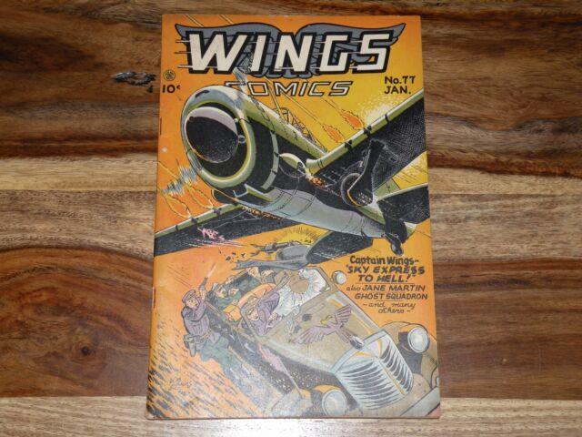 Wings Comics #77 ~ 1947, Fiction House ~ WORLD WAR 2 COMIC ~ NICE MID GRADE!!