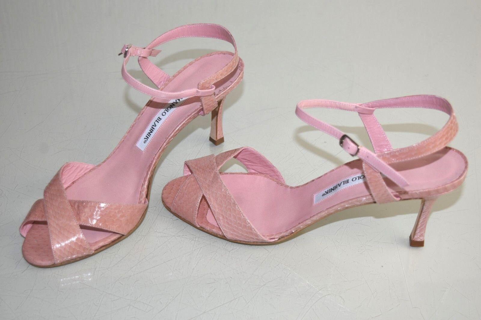 NEW Manolo Blahnik EXOTIC Snakeskin Snakeskin Snakeskin PYTHON Sandals Pumps Heels Pink shoes 40.5 6303c4
