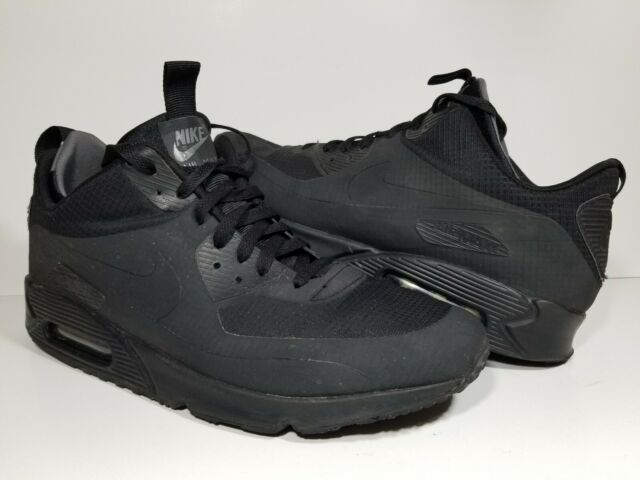 Nike Air Max 90 Mid Winter Triple Blk Lace Up Shoes Mens Size 11.5 806808 002