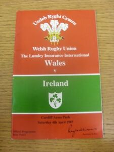 04-04-1987-Rugby-Union-Programme-Wales-v-Ireland-At-Cardiff-Arms-Park-slight
