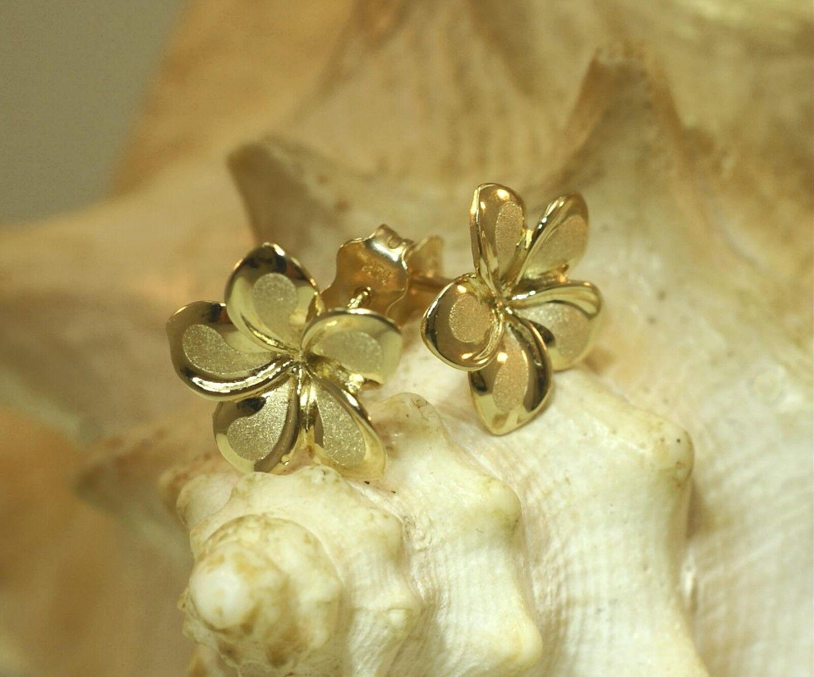 13MM SOLID 14K YELLOW gold BRUSH SATIN HAWAIIAN FANCY PLUMERIA STUD EARRINGS  M