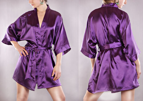 Morgenmantel Damen Negligee Kimono Dessous Nachtwäsche Satinmantel S M L XL KI01
