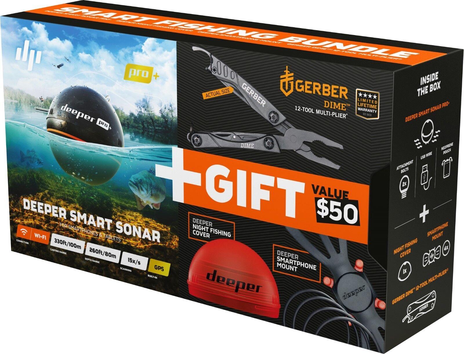 Deeper Deeper Deeper Pro Plus GPS Smart Sonar Blautooth Fish Finder Xmas Bundle -X9015- c72a36
