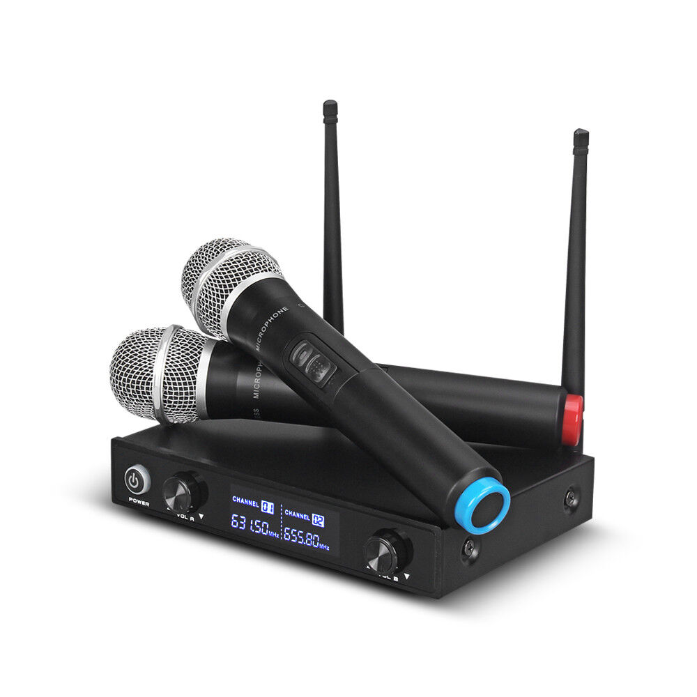 Pro Audio UHF Wireless Microphone System Dynamic 2 Channel Handheld Mic Karaoke