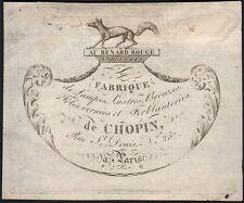 Carte adresse. Au Renard Rouge - Fabriquant lampes, lustres. Paris Vers 1810