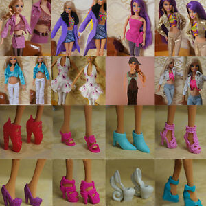15-Items-5Pairs-Shoes-5-Sets-Clothes-Trousers-Dress-For-Barbie-Doll-Handmade