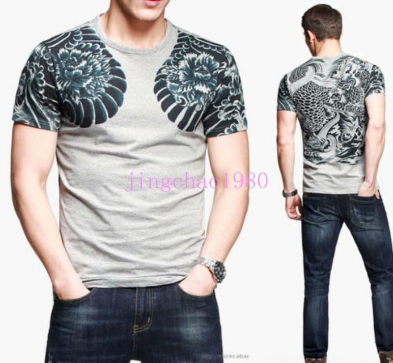 New Men's Tee Graphic T-Shirts Japan Ukiyoe Tattoo Art Design Stretch Fitted Ch