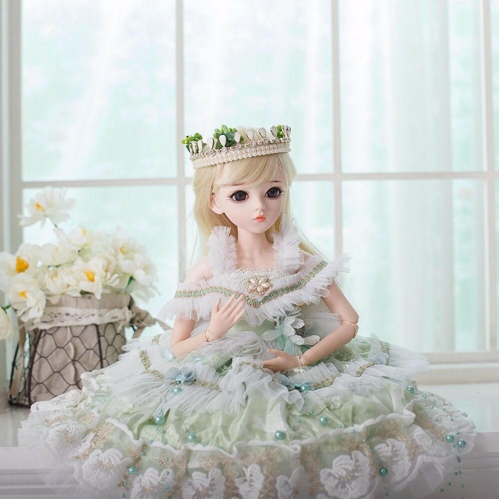 BJD Dolls 1 3 Cute Princess SD Puppen W  Grün Dress Wigs schuhe Hat Makeup Gift