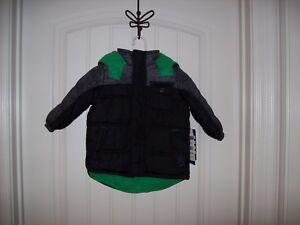 iXtreme Big Boys/' Tonal Print Colorblock Puffer Jacket CHARCOAL