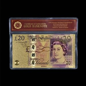 WR-NEW-Bank-of-England-20-Twenty-Pound-Note-24K-Gold-Plated-Banknote-COA-PACK