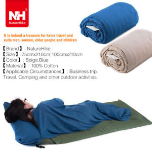 Naturehike-100-Cotton-Envelope-Sleeping-Bag-Liner-Sheet-w-Pillow-Camping-Hiking