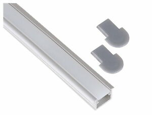 aluminium einbau profil leiste 1m eckig set abdeckung endkappe f r led band ebay. Black Bedroom Furniture Sets. Home Design Ideas