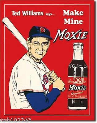 Ted Williams Make Mine Moxie TIN SIGN vtg baseball wall poster diner decor #60