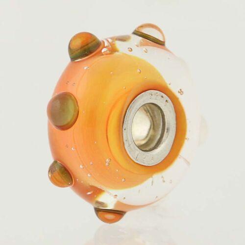 Nouveau Trollbeads Charm-Argent Sterling 925 Verre 61467 corail Opale Bead tacheté