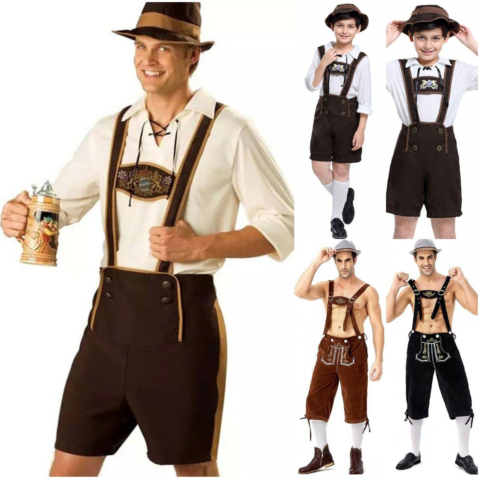 Bavarian Man Oktoberfest Octoberfest Lederhosen Beer Fancy Dress Costume S-XL
