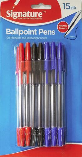 New Pack of 15 Ballpoint Pens Red Blue /& Black School Office University UK Stock