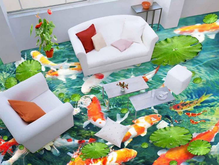 3D Rot Karpfen Lotus Fototapeten Wandbild Fototapete Tapete Familie DE Lemon