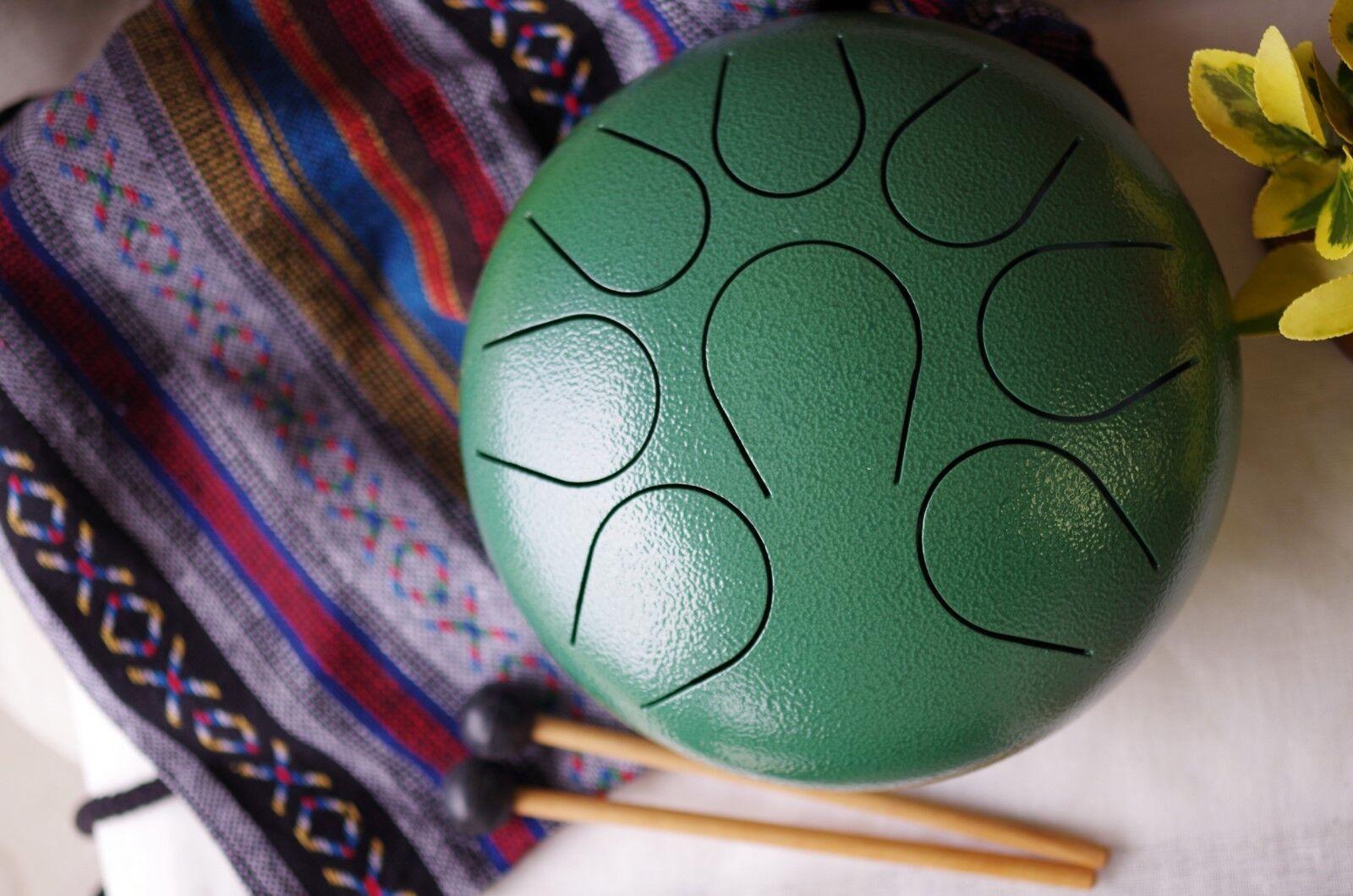 Hand Pan Drum Steel Tongue Drum Chakra drum WuYou 9in Great Christmas Gift Grün