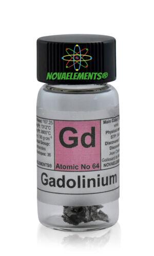 1 gram 99,95/% Gadolinium metal element 64 Gd sample in labeled glass vial