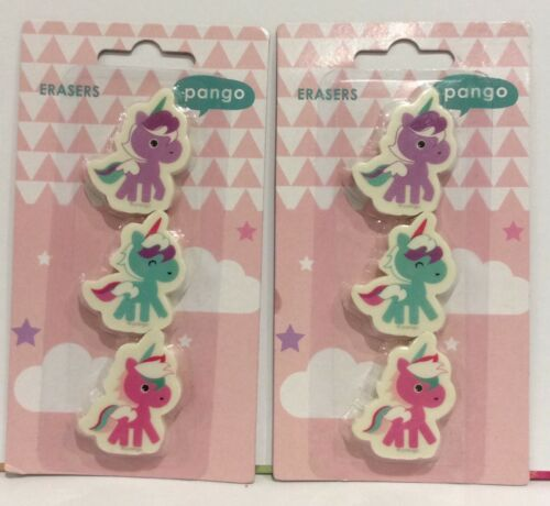 BNIP 6 UNICORN ERASER RUBBERS PINK PURPLE GREEN CUTE KAWAII GIRL PARTY BAG GIFT