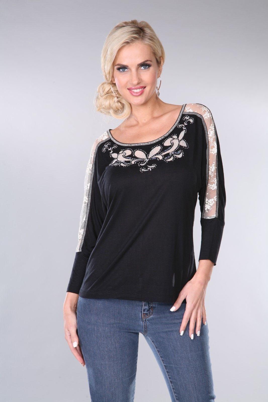Woherren Top T-Shirt schwarz Cream Krista Lee Labyrinth Embellished Beaded Lace NEW