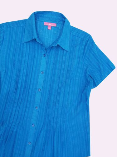 Woman Within New Blue Waffle Rayé Pintuck Shirt à Manches Courtes Tailles UK 18 To 48