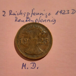 Deutsches-Reich-2-Rentenpfennig-1923-D-vom-Pfennigfuxxer