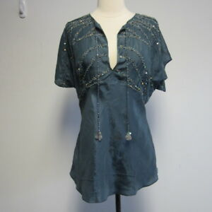 Top Gini Sz Blue Nwt Blank Sequin M Coal qxZxtvR