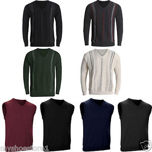 New-Mens-V-Neck-Jumper-Pullover-Sweater-Long-Sleeve-Knitted-Top-Soft-New-Stripe