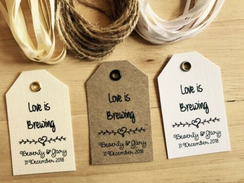 Vintage Kraft//White//Ivory 2 Personalised Wedding LOVE IS BREWING Favour Tags