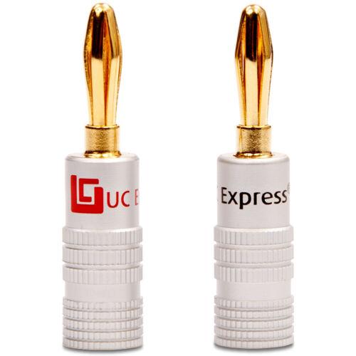 8x Bananenstecker UC-Express High End Bananas vergoldet für Kabel bis 6mm² 24K