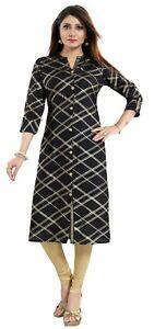 Women-Indian-Kurti-Tunic-Cotton-Printed-Ethnic-Black-Kurta-Shirt-Dress-MM236