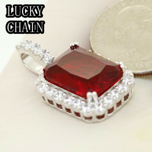 """24/""""925 STERLING SILVER MOON CUT CHAIN NECKLACE RUBY STONE PENDANT 18g R493"""