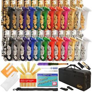 LAZARRO-Gold-Silver-Eb-E-flat-ALTO-SAXOPHONE-SAX-4-Student-School-Band-24-COLORS