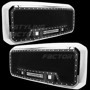 11-16-Ford-Super-Duty-Rivet-Black-SS-Mesh-Grille-Chrome-Shell-3x-LED-Lights-NEW