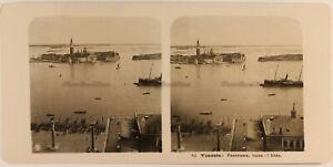 Italia Venezia Panorama Con A Font il Lido c1905 Foto Stereo Vintage