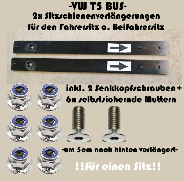 2x Sitzschienenverlängerung passt bei VW T5 Bus inkl Schrauben für 1 Sitz