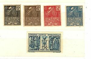 FRANCE-SERIE-N-270-a-N-274-EXPOSITION-COLONIALE-1930-31-NEUF