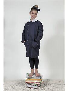 Grembiule-Scuola-Primaria-Bambino-Bambina-Blu-Unisex-Child-Smock-RIGA