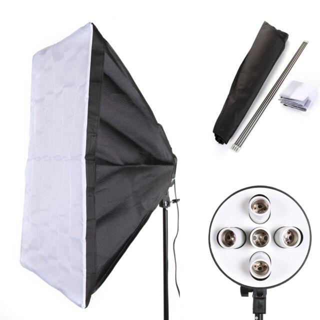 E27 5 Socket Photo Light Lamp Bulb Bracket Holder +60cm *90cm Studio Softbox Kit
