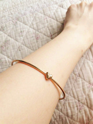 Charm Women Gold Heart Love Chain Bangle Bracelet Cuff Elegant Jewelry Gift Hot