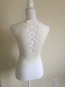 3058c74c003 New! Brandy Melville cropped cream ribbed laced up back knit tank ...