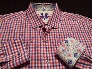 Robert-Graham-Mens-Large-L-S-Button-Front-Multicolor-Plaid-Check-Flip-Cuff-Shirt