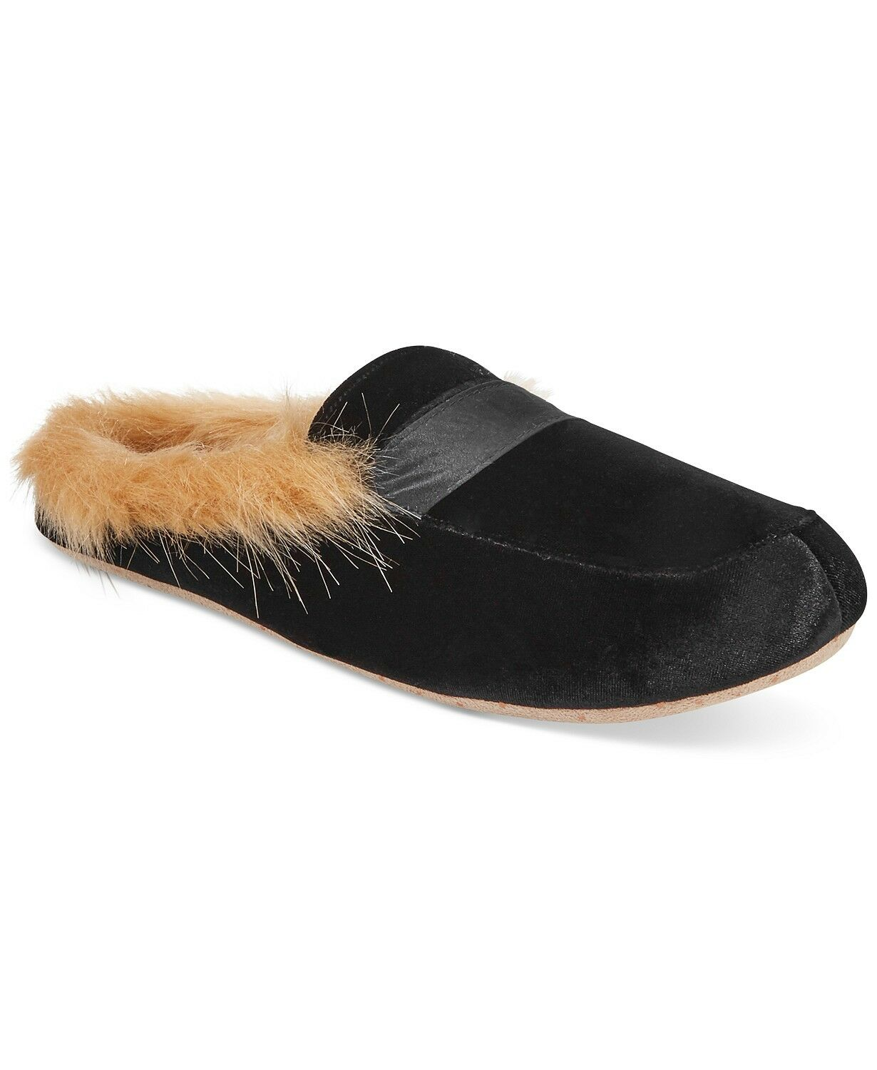 NEW IN BOX International Concepts INC Faux-Fur Slide Slippers in Black L 9/10