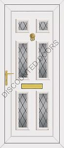 Wilson Six Diamond Lead Glazed UPVC Front Door, Frame & Letterbox